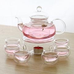 Borosilicate Glass Tea Pot Set Filtering with six cups