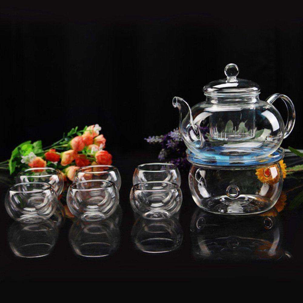 Borosilicate Glass Tea Pot Set Filtering with six cups 2
