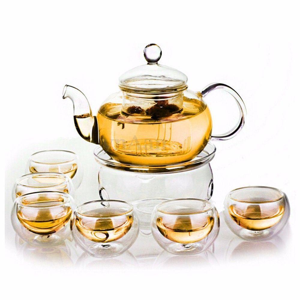 Borosilicate Glass Tea Pot Set Filtering with six cups 3