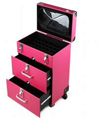 Professional Nail Artist 4 Wheel Rolling Makeup Case Cosmetic Artist Trolley