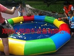 彩色充气摸鱼池钓鱼玩具水上乐园