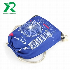 Wholesale factory design cotton canvas drawstring backpack with custom printed