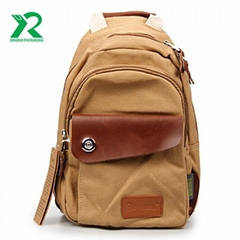 Wholesale leisure Durable customize vintage canvas backpack for student