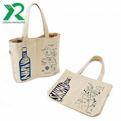 Custom Design Durable Divided 2 Bottles Natural Cotton Canvas Wine Tote bag