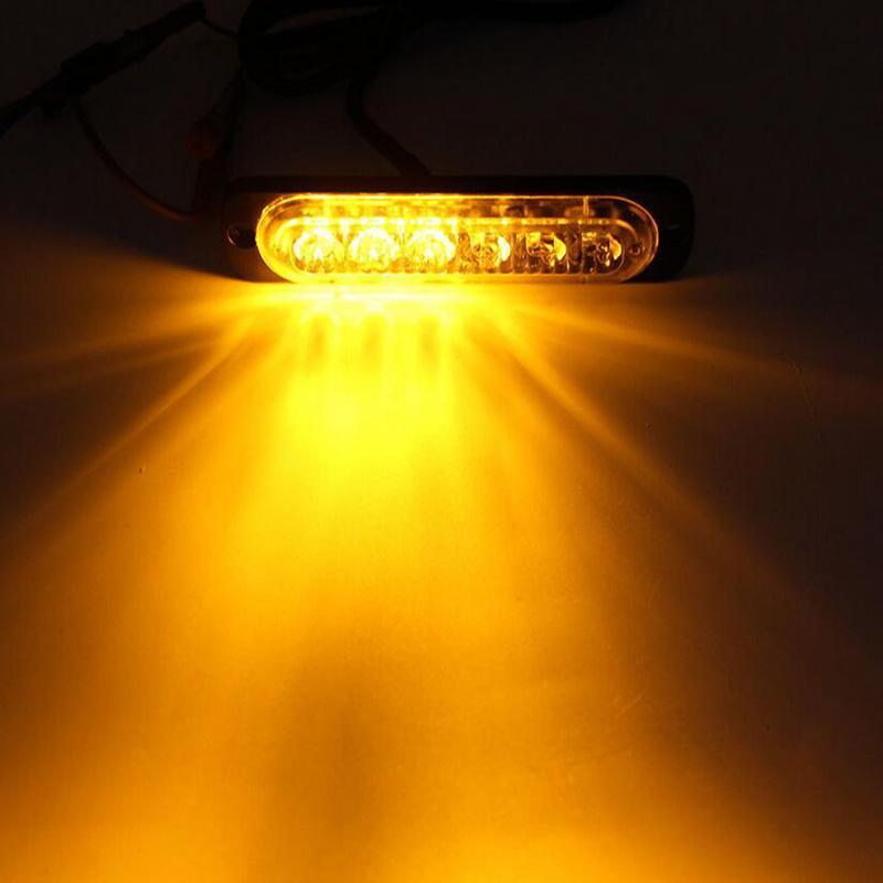 6 LED Amber Flashing Emergency Hazard Side strobe marker lights for Car Truck  3