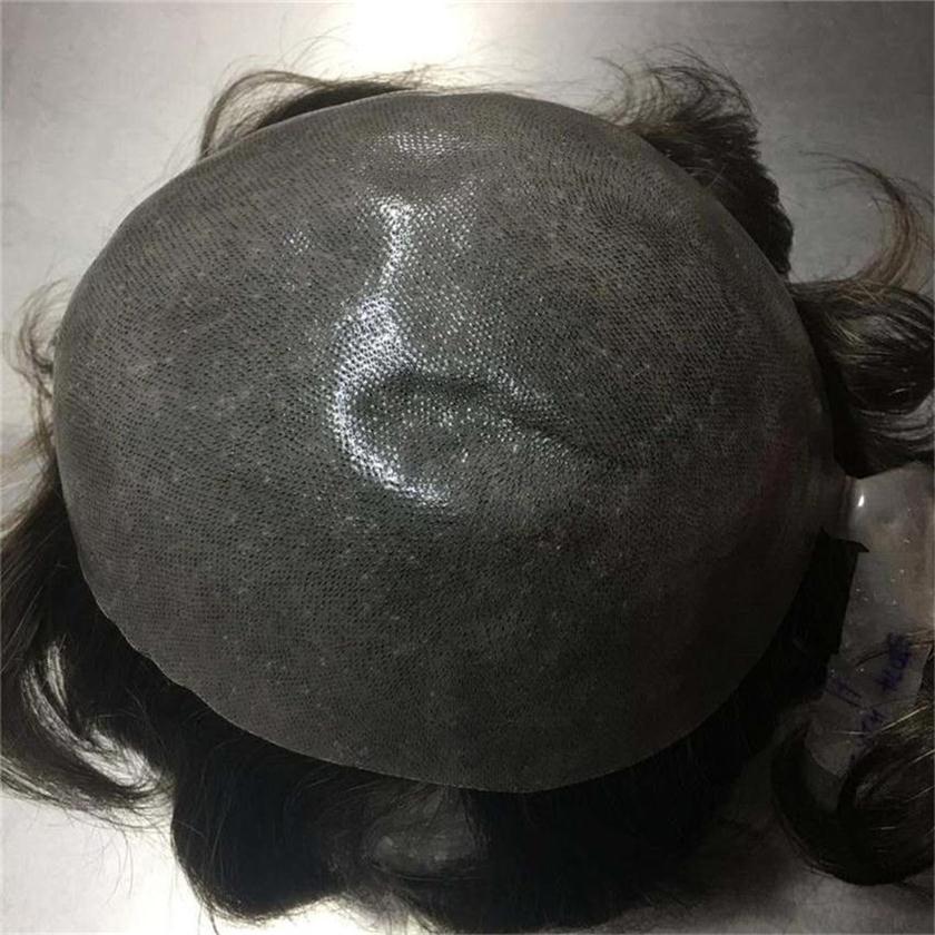 "6"" Indian Human Hair PU Base Men's Toupee Color # 1b. Density 120% 1"