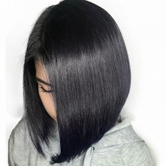 "16"" indian human hair straight full lace wigs"