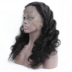 "18"" indian human hair body wave full lace wigs"