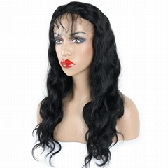"High quality 24"" remy indian human hair body wave full lace wigs"