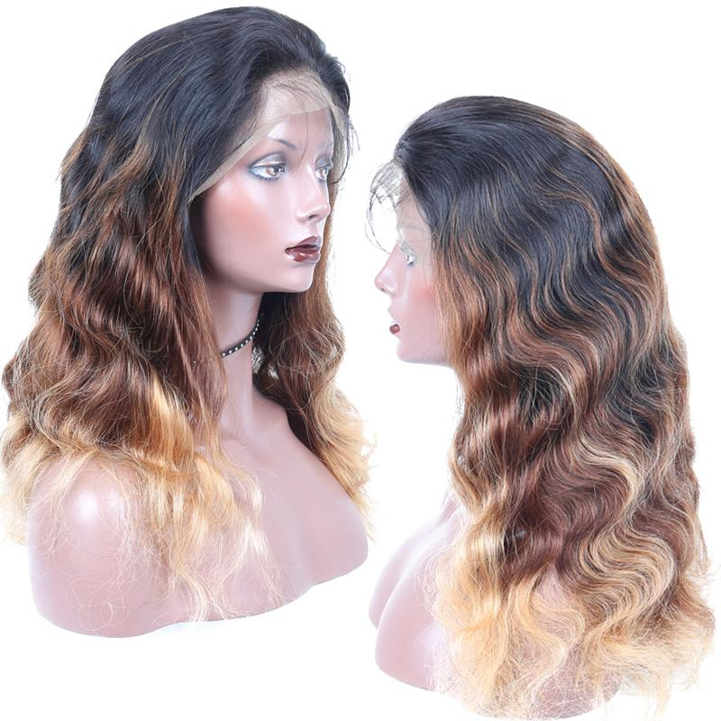 "Top 26"" remy indian human hair body wave full lace wigs 1"