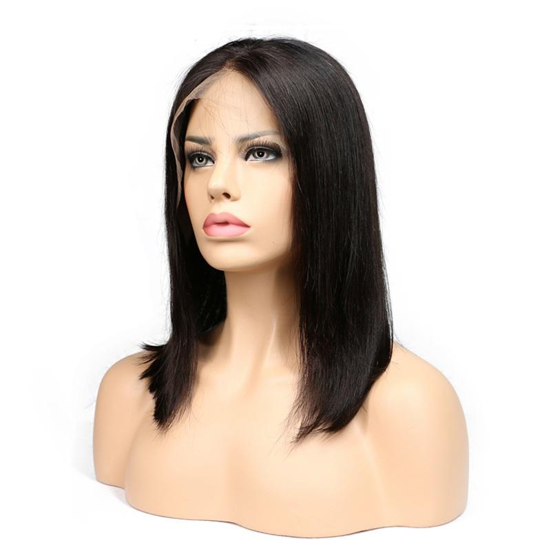 """18"""" straight indian human hair front lace wigs 1"""