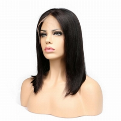"18"" straight indian human hair front lace wigs"