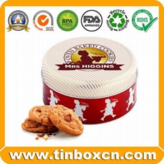 Customized round Shape Chocolate Tin Box For Chocolate and Cookies Packaging