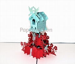 Bird house-3d card-pop up card-greeting card-kirigami-ninrio-3Dcard-origamiccard
