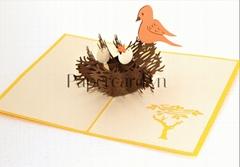 Birdfamily--3d card- pop up card- greeting card- kirigami-handmade card-greeting