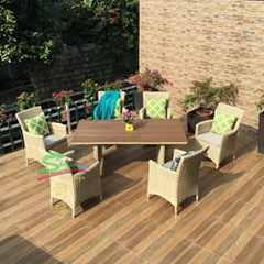 siyu furniture outdoor garden rattan wicker furniture 6 seater dining table set