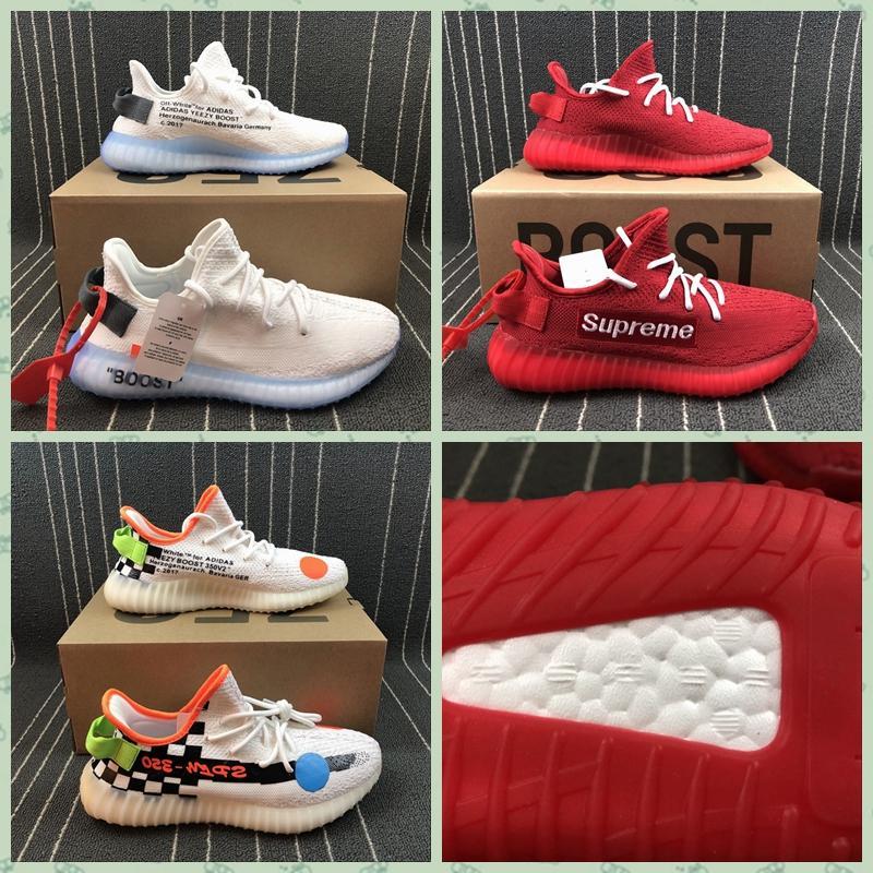 Wholesale 1:1 top quality  adidas yeezy 350v2 Boost x supreme men shoes women  4