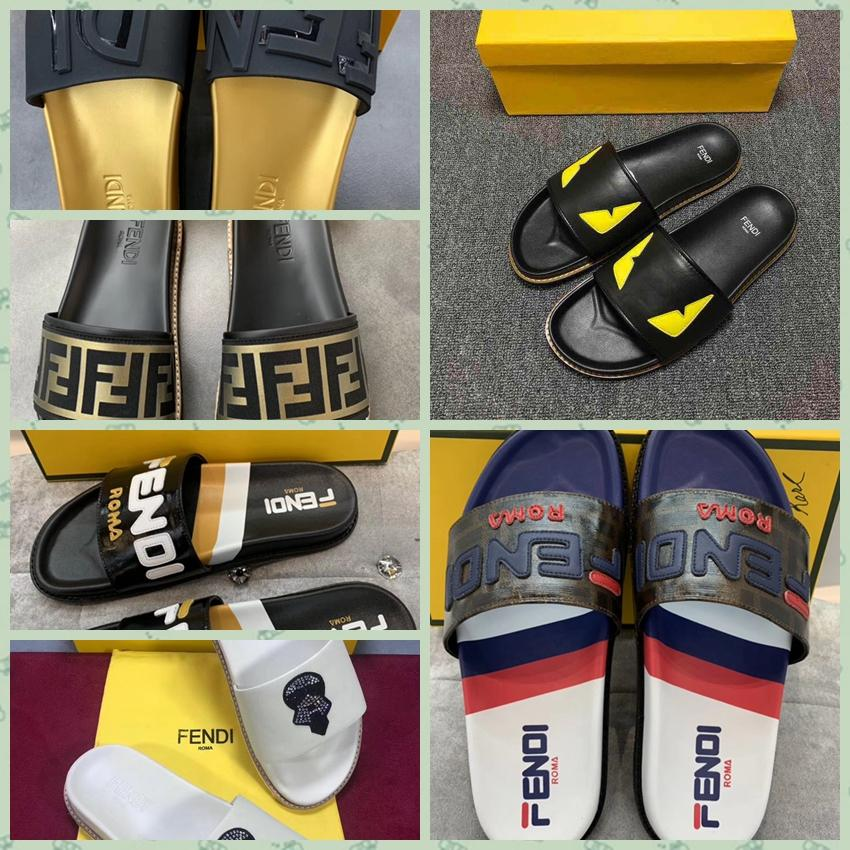 2019 new Fendi sandals Fendi slipper Fendi Pearland FF Leather Slide FF Flat