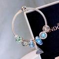 New Arrive Pandora 925 Sterling Silver Green Crystal Charm bracelets 4