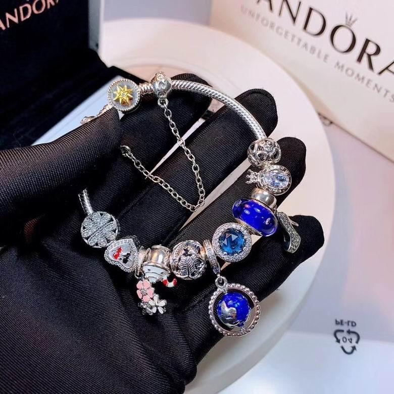 New Arrive Pandora 925 Sterling Silver Green Crystal Charm bracelets 5