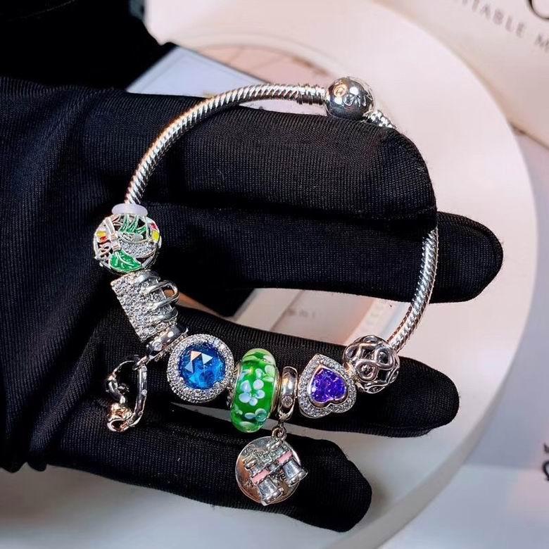 New Arrive Pandora 925 Sterling Silver Green Crystal Charm bracelets 6