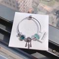 New Arrive Pandora 925 Sterling Silver Green Crystal Charm bracelets 7