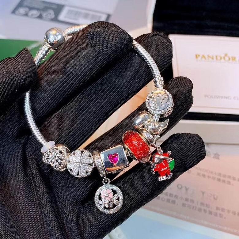 New Arrive Pandora 925 Sterling Silver Green Crystal Charm bracelets 8