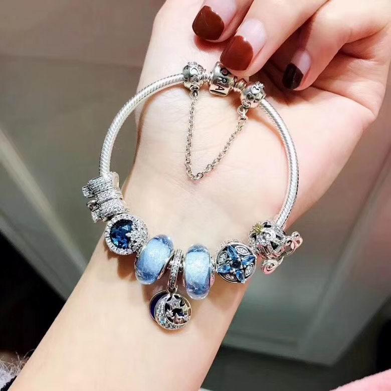 New Arrive Pandora 925 Sterling Silver Green Crystal Charm bracelets 11