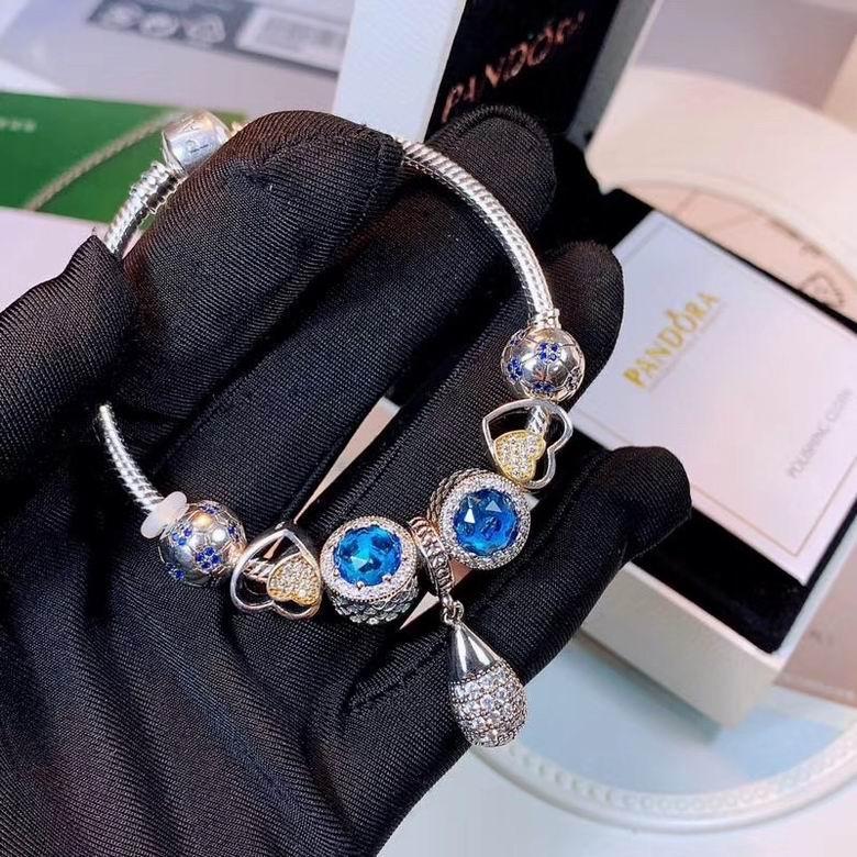 New Arrive Pandora 925 Sterling Silver Green Crystal Charm bracelets 12