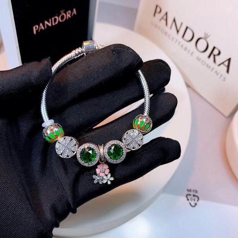 New Arrive Pandora 925 Sterling Silver Green Crystal Charm bracelets 13