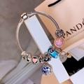 New Arrive Pandora 925 Sterling Silver Green Crystal Charm bracelets 18