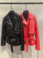 2021 New     Leather Biker Jacket women leather jacket FUR COAT