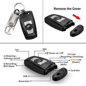 HD 4K Portable Covert Camera Carkey Camera WIFI Mini Car Key Spy Hidden Camera 1