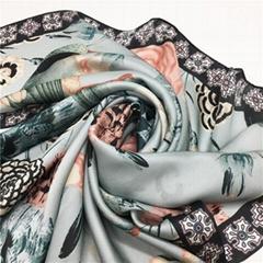 Pretty Design 100% Silk Scarf by Customized Digital Printing for WoloesalerPrett