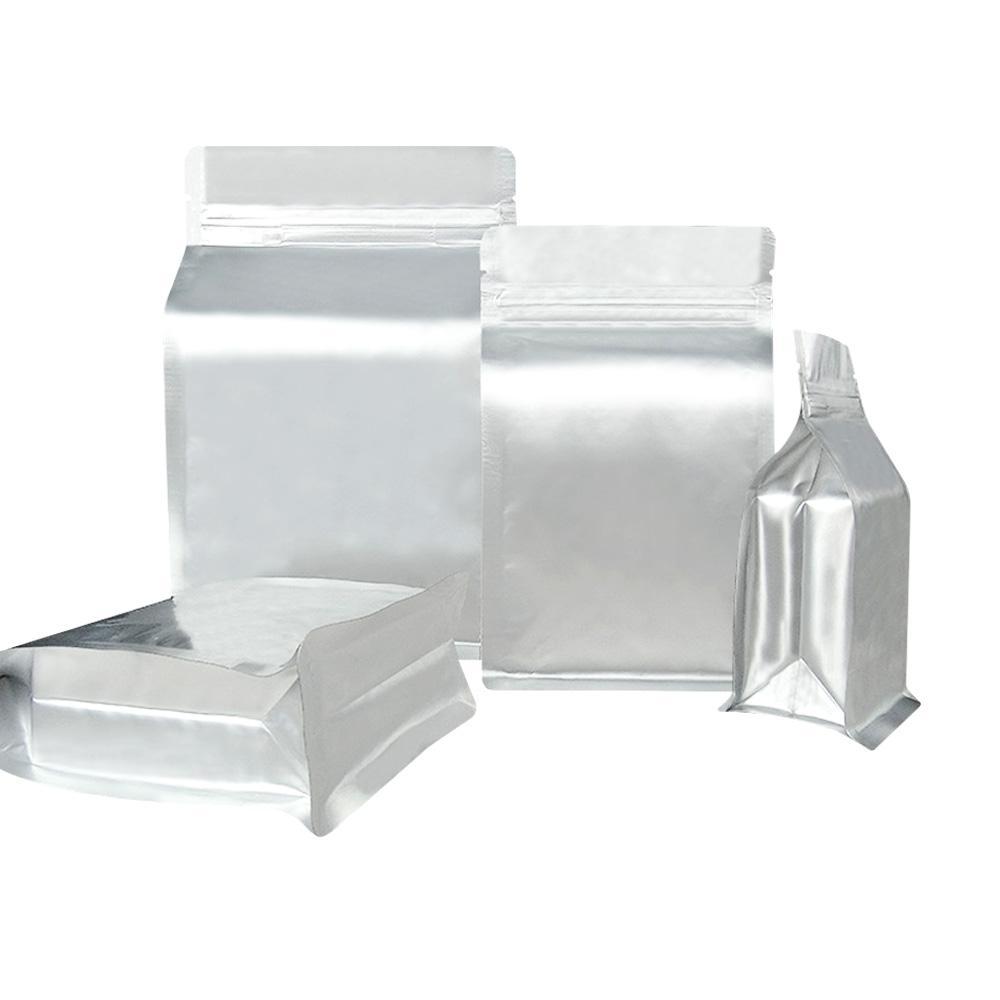 custom printed si  er aluminum foil flat bottom box pouch with zipper 1