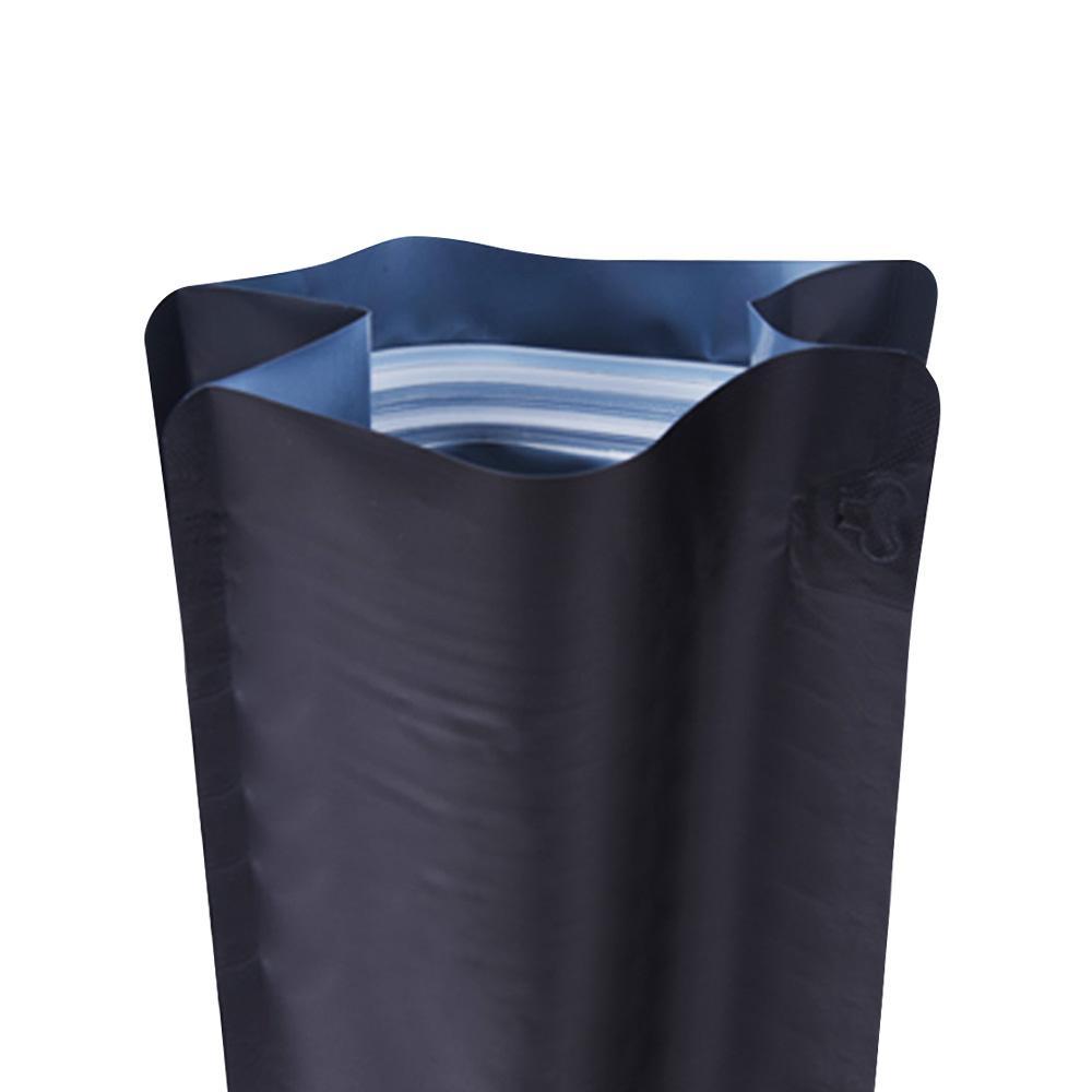 plastic aluminum foil laminated black flat bottom zipper pouch with coffee va  e 1