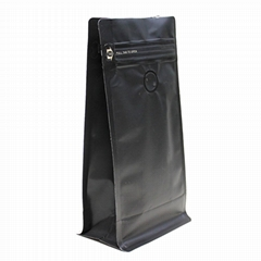 12 oz Black Square Flat Bottom Pouch With Zipper and Va  e for Coffee Bags