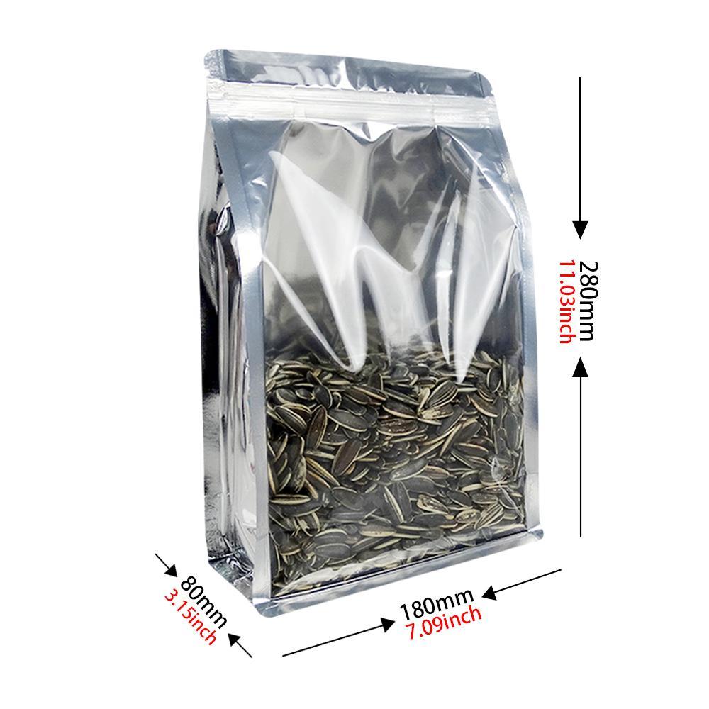 Transparent flat bottom pouch with zipper si  er grain packaging bag 1