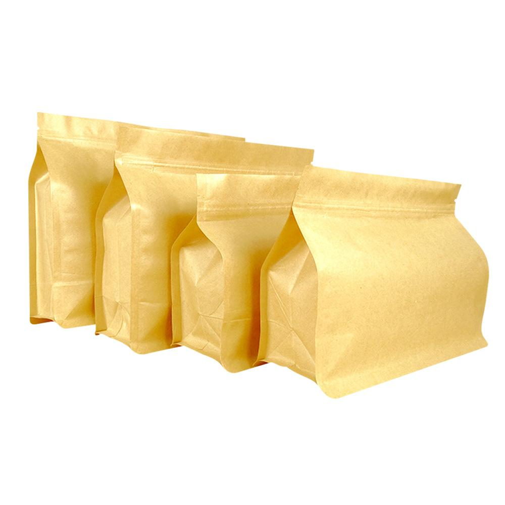 Kraft paper flat bottom box pouch with zipper and valve for food packaging bag 1