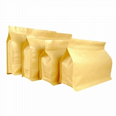 Kraft paper flat bottom box pouch with zipper and va  e for food packaging bag