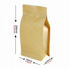 Brown Kraft Paper Coffee Bag Zipper Lock Snack Food Packaging Bag