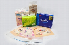 Soft white natural facial tissue plastic packaging