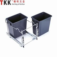 Double built-in kitchen cabinet waste bin