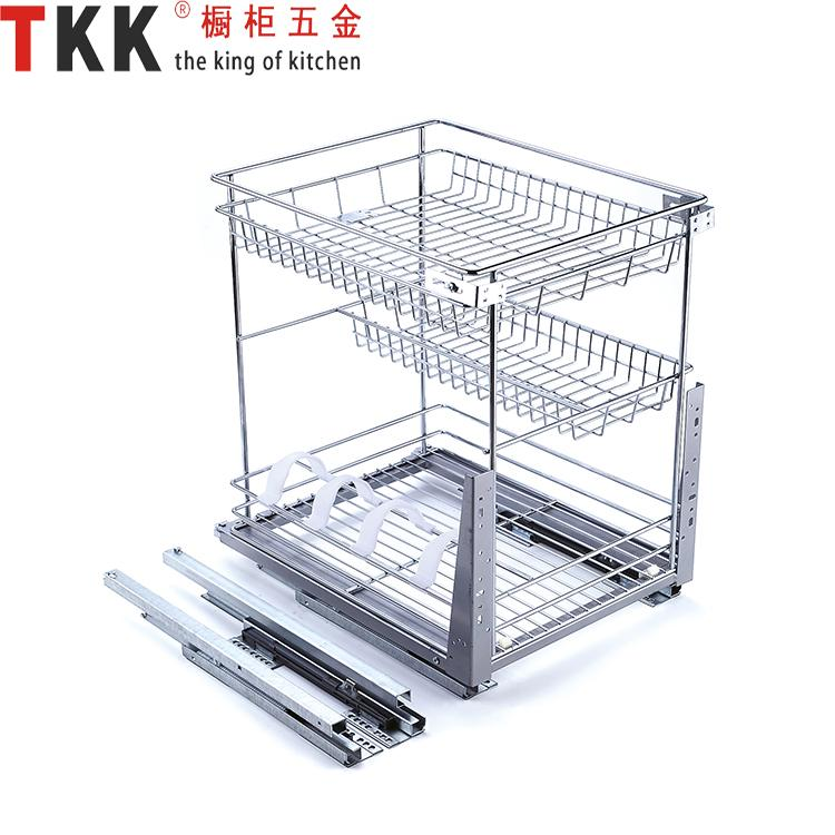 3 Layer soft-stop slide pull out Kitchen Storage Wire basket ...
