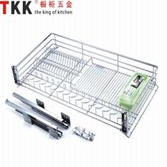 Soft-stop slide stainless three-side kitchen storage wire basket