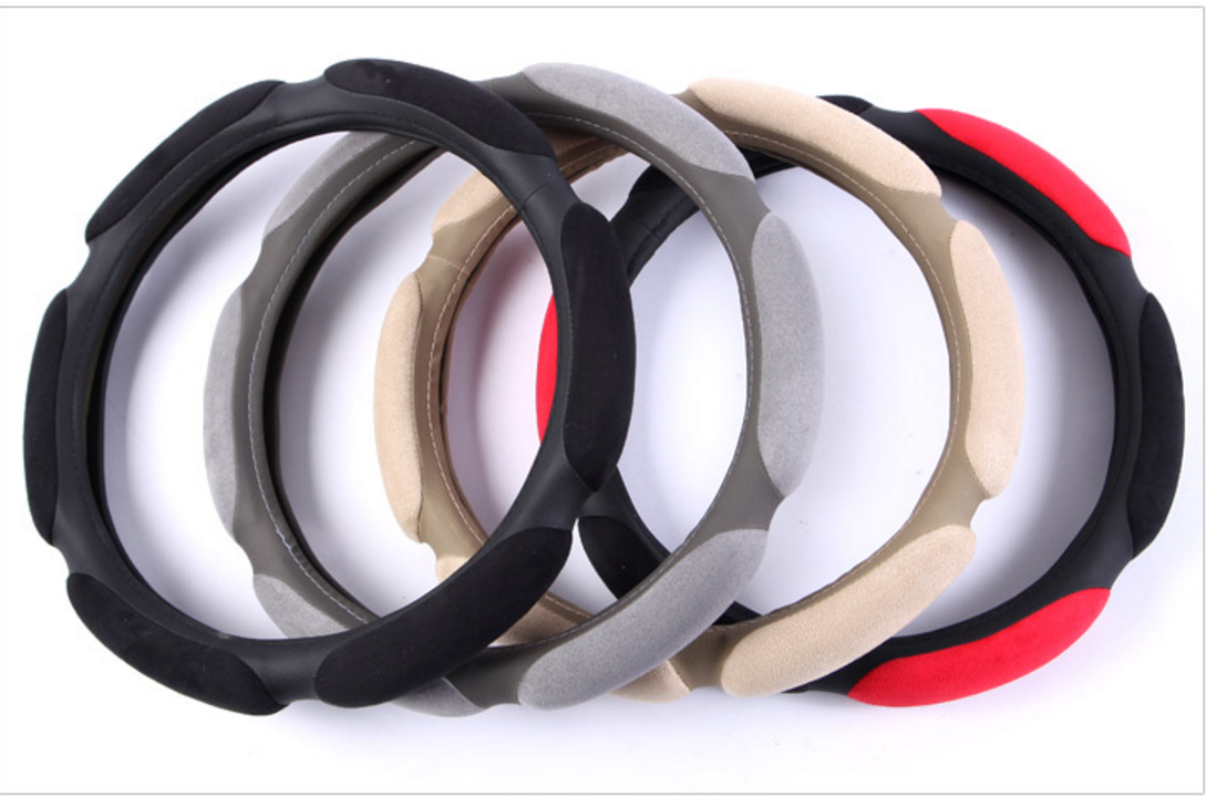 Sandwich Suede Fabric steering wheel cover 1
