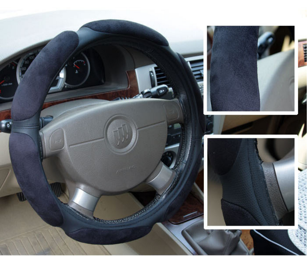 Sandwich Suede Fabric steering wheel cover 2