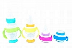 Baby collapsible foldable plastic silicone feeding milk bottle