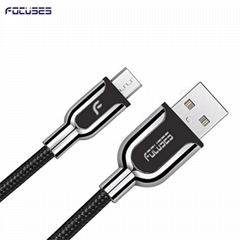 Focuses Premium Zinc Alloy Braided Micro USB Cable Micro usb fast charger