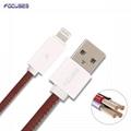 FOCUSES Premium 3.28ft Leather Quick Charging Cable For IPhone